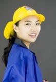 Boczny profil ufny dama strażaka ono uśmiecha się zdjęcia stock