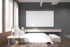 Boczny widok łóżko i trzy okno ilustracja wektor