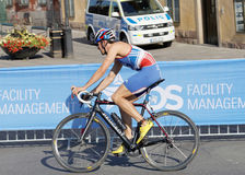 Boczny widok cyklisty dorian Coninix Zdjęcia Royalty Free