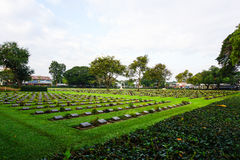 Boczny widok inside Kanchanaburi wojny cmentarz Obraz Royalty Free