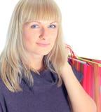 Boczny widok kobiety mienia torba na zakupy Zdjęcia Stock