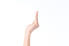 Boczny widok kobiety ` s ręka z palcami podnoszącymi up fotografia royalty free