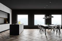 Boczny widok kuchnia, bar i stół szarzy i biali, ilustracja wektor
