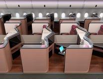 Boczny widok luksusowi klasa business apartamenty w samolotowej kabinie ilustracja wektor