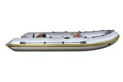 Boczny widok na szarym nadmuchiwanym gumowej łodzi Dinghy PVC. Zdjęcia Stock
