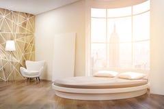 Boczny widok nasłoneczniona round łóżkowa sypialnia Obraz Stock
