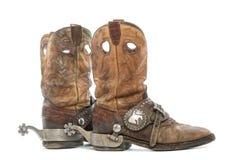 Boczny widok para Kowbojscy buty z ostroga obraz royalty free