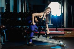 Boczny widok piękny sprawności fizycznej kobiety trening z ciężarami nad ćwiczenie ławką przy gym zdjęcie royalty free