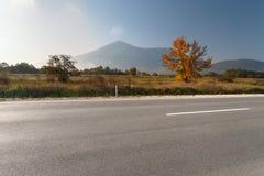 Boczny widok pusta asfaltowa droga w terenie górskim Zdjęcia Royalty Free