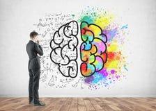 Boczny widok rozważny biznesmen, mózg zdjęcia royalty free