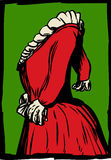 Boczny widok suknia z pofałdowanym kołnierzem ilustracji