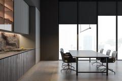 Boczny widok szara kuchnia, stół i półki, ilustracji