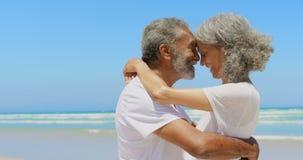 Boczny widok szczęśliwa aktywna starsza amerykanin afrykańskiego pochodzenia para obejmuje each inny na plaży 4k zdjęcie wideo
