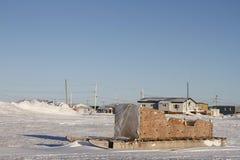 Boczny widok tradycyjny Inuit ładunku Komatik w Arviat stylu w Kivalliq regionie lub sanie Obrazy Royalty Free