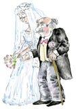 Boda de la novia joven y del viejo novio ilustración del vector