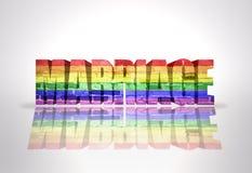 Boda de la palabra con la bandera del gay del arco iris ilustración del vector