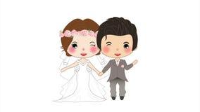 Boda de los pares Mujer linda en vestido y hombre de la novia en el novio Tuxedo en una pantalla blanca