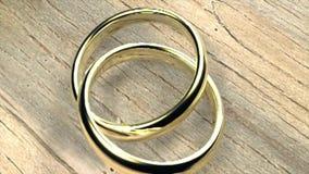 Boda de oro de la boda del amor de los anillos almacen de video