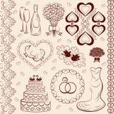 Boda del clipart del vector, decoraciones de la boda Fotografía de archivo libre de regalías
