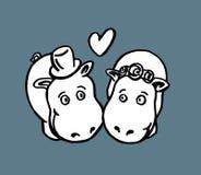 Boda del hipopótamo Stock de ilustración