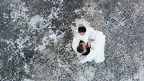 Boda del invierno La vista aérea de los pares del recién casado en vestidos de boda está bailando casandose danza en un parque ne metrajes