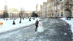 Boda del invierno los pares del recién casado en vestidos de boda están caminando a través del parque nevado, contra la perspecti metrajes