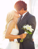 Boda, novia y novio Just Married Imagenes de archivo