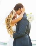 Boda, novia y novio Just Married en amor Fotografía de archivo