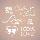 Boda o elementos del amor del diseño del día de tarjetas del día de San Valentín Imagen de archivo libre de regalías