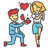 Boda, oferta, hombre y mujer, amor, anillo, casandose concepto Libre Illustration