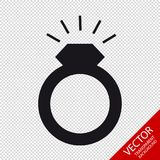 Boda Ring With Glittering Diamont - icono plano del vector - aislado en fondo transparente libre illustration