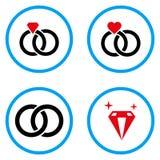 Boda Ring Rounded Vector Icons Foto de archivo libre de regalías