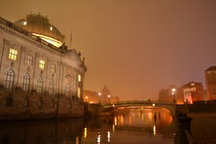Bode Museum Berlin, Germany During a Foggy Night Royalty Free Stock Image