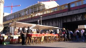The Bode Museum Flea Market and a train on the railway bridge, Am Kupfergraben, Berlin, Germany