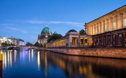 Bode museum illuminated, Spree river, museum island, Berlin, in the evening. Bode museum illuminated, on museum island in Spree river in Berlin, Germany, in the stock photography