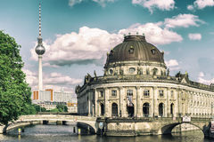 Bode Museum Island, Bodemuseum, Museumsinsel and TV Tower on Alexanderplatz, Berlin, Germany Stock Photography