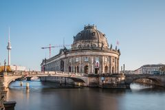 Bode Museum and TV Tower with River Spree and Bridge at blue sky royalty free stock photography