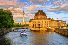 Bode museum on Spree river and Alexanderplatz TV tower in center Stock Photography