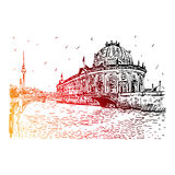 Bode museum on Spree river and Alexanderplatz TV tower in center of Berlin, Germany. Royalty Free Stock Images