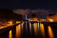 Bode Museum and Television Tower in Berlin at night Royalty Free Stock Image