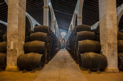 在赫雷斯bodega,西班牙的雪利酒桶 免版税库存照片