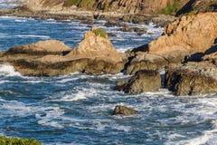 Bodega Bay Head rocks. Beautiful landscape of the California Coastline, Sonoma County, Bodega Bay area on a sunny day stock photos