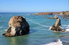 Bodega Bay and the Pacific Ocean. Bodega Harbor and Bodega Bay - Rocky Coast, California Royalty Free Stock Photos