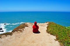 Bodega Bay, Pacific Ocean, Girl, Meditation, California, United States Of America, Usa Stock Image