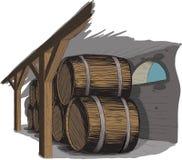 Bodega vieja con filas de barriles Fotografía de archivo
