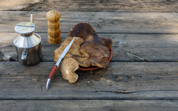 Bodegon fez com os cogumelos do cardo na tabela envelhecida II Imagens de Stock Royalty Free