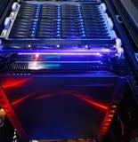 Bodemmening over de clusteropslag van supercomputer in een gegevenscentrum Stock Fotografie