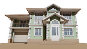Bodemmening van de voorgevel Plattelandshuisje in een klassieke stijl Stock Afbeeldingen