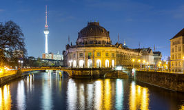 Bodemuseum and Museumsinsel in Berlin by night Stock Photo