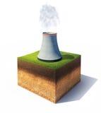 Boden mit kühlerem Turm des Atomkraftwerks Stockbilder